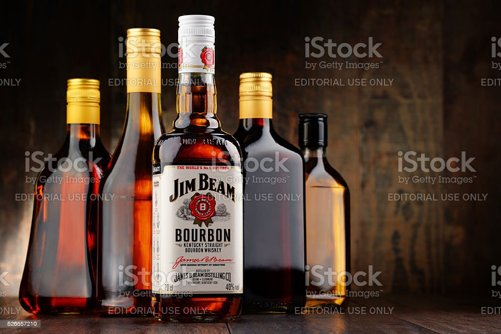 Bottle of Jim Beam bourbon stock photo