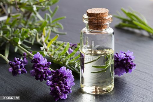 istock A bottle of lavender essential oil with fresh lavender twigs 920637186