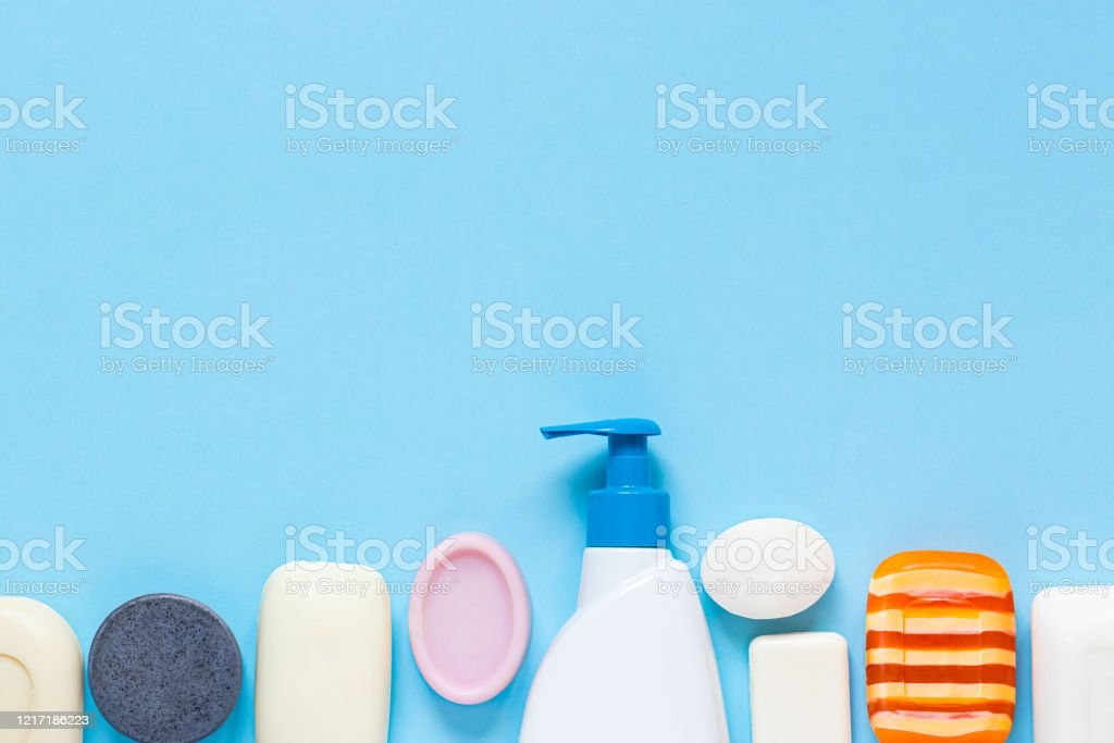 Bottle Of Liquid Soap And Many Different Types Of Soap