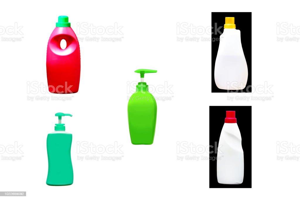 Garrafa de dispensadores de sabão líquido ou líquida rolha e garrafas de forma bonita, isoladas no fundo branco. - foto de acervo