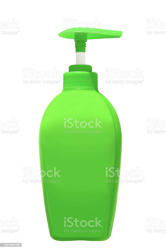 Garrafa de dispensadores de sabão líquido ou líquida rolha isolado no fundo branco, incluído o traçado de recorte. - foto de acervo