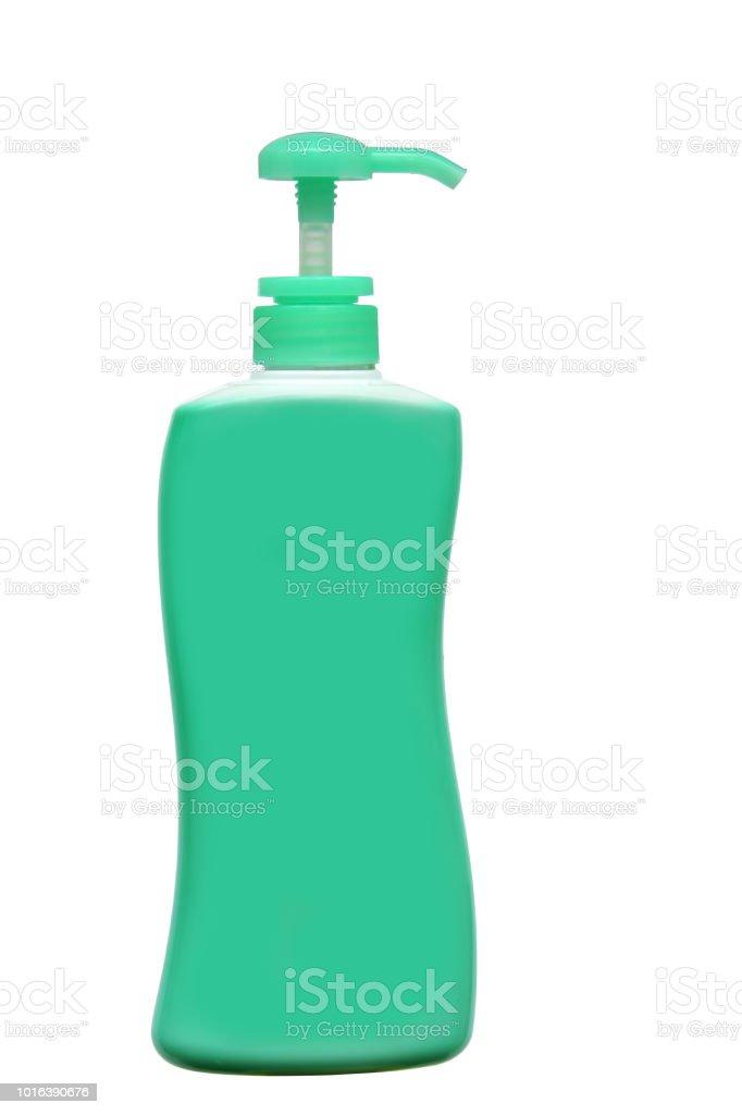 Frasco de sabonete líquido, dispensadores de creme ou líquida rolha isolado no fundo branco, incluído o traçado de recorte. - foto de acervo