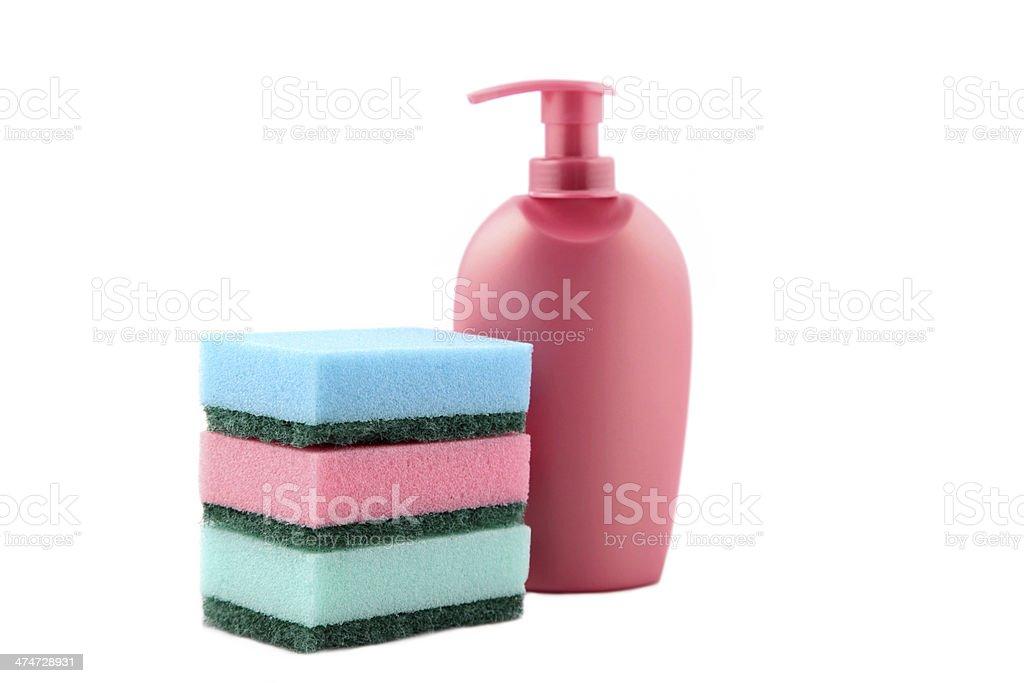 bottle of liquid soap with sponge royalty-free stock photo