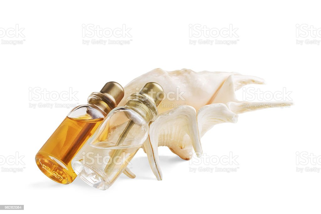 bottle of medicine and sea shells royalty-free stock photo