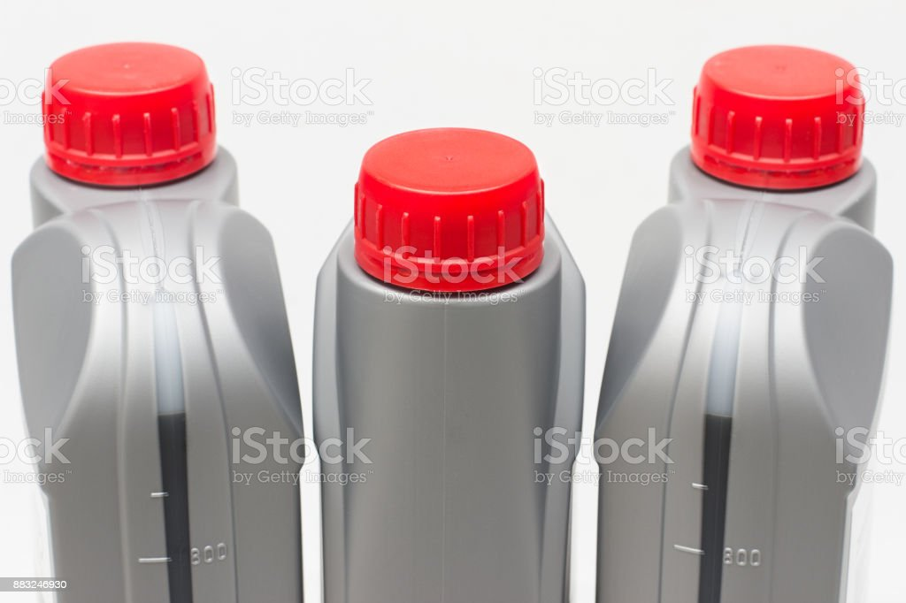 bottle of oil for the engine stock photo