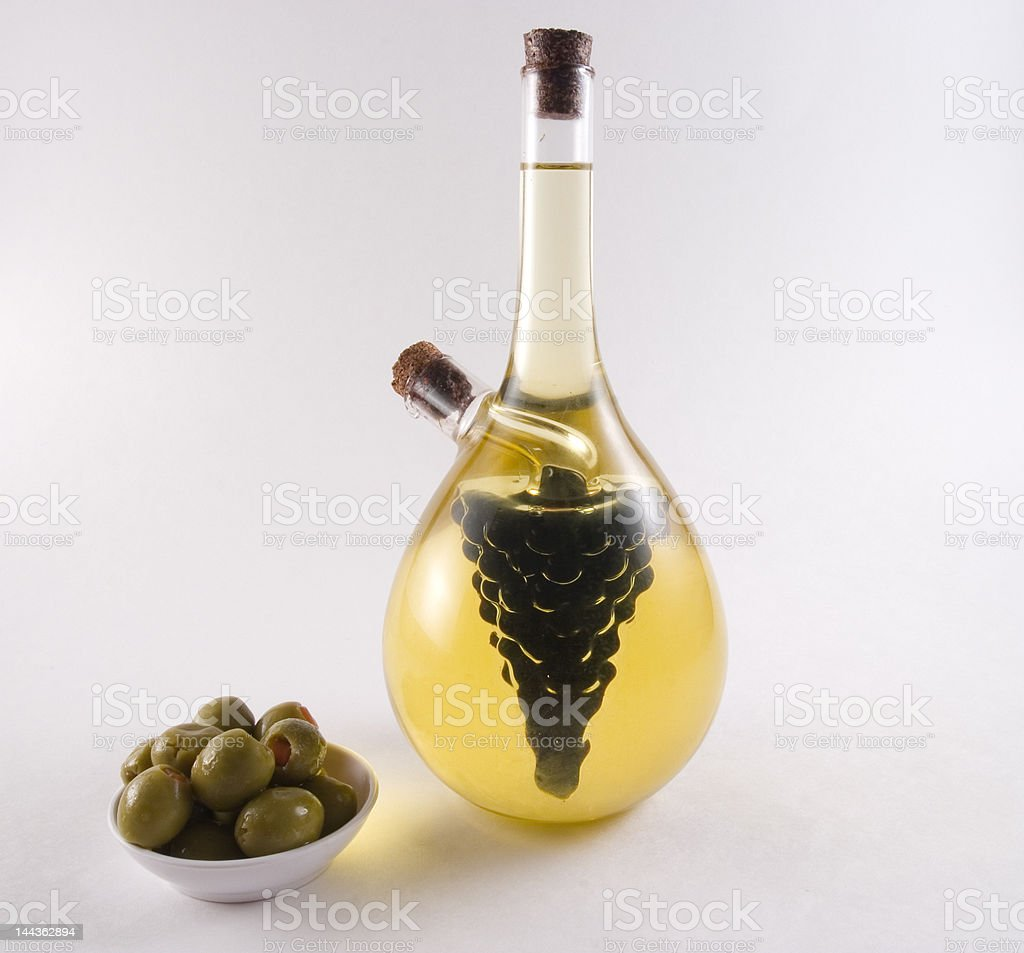 Bottle of olive oil and vinager royalty-free stock photo