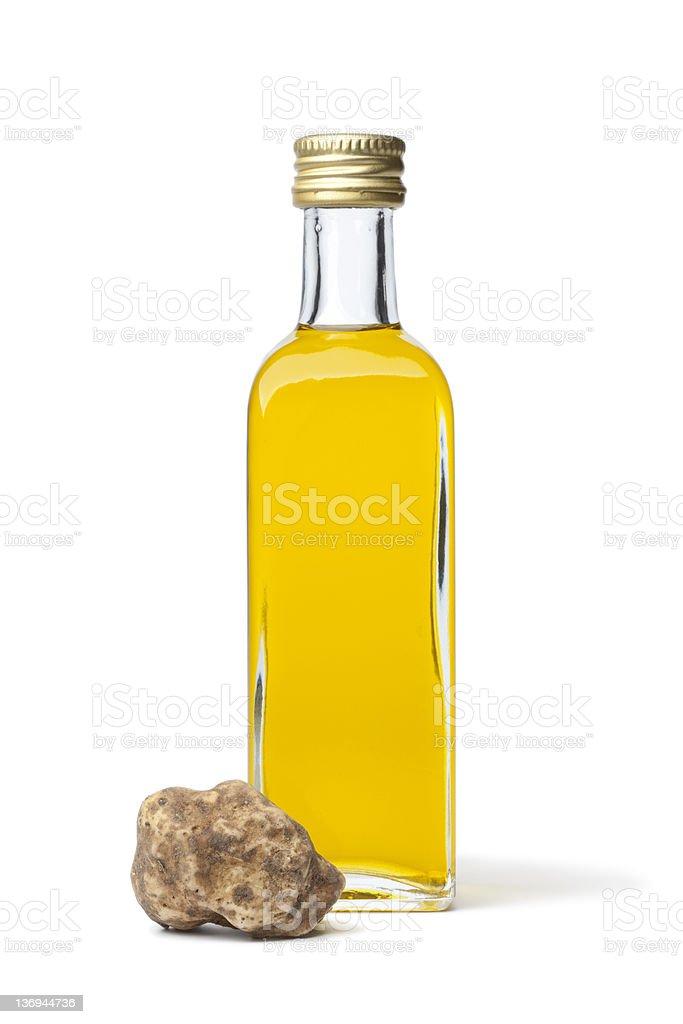 Bottle of olive oil with white truffle stok fotoğrafı