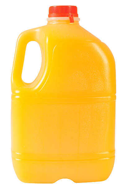 Bottle of orange juice. Isolated. stock photo