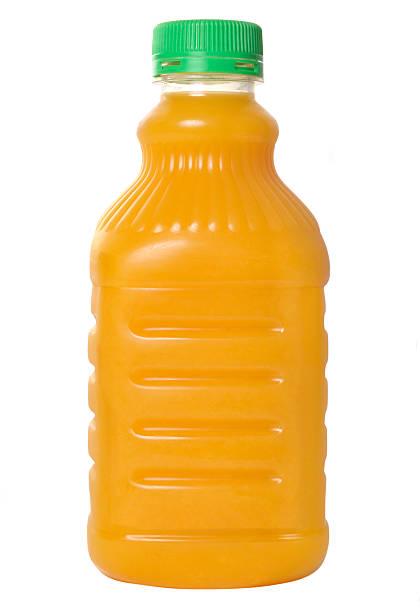 bottiglia di succo d'arancia - fruit juice bottle isolated foto e immagini stock