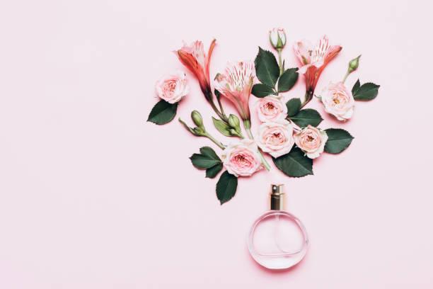 butelka perfum i kompozycja kwiatowa z pąków róży na różowym tle - perfumowany zdjęcia i obrazy z banku zdjęć