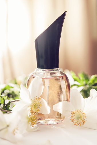 istock Bottle of perfume with white flowers. Floral fragrance. Natural cosmetics concept. 958526788