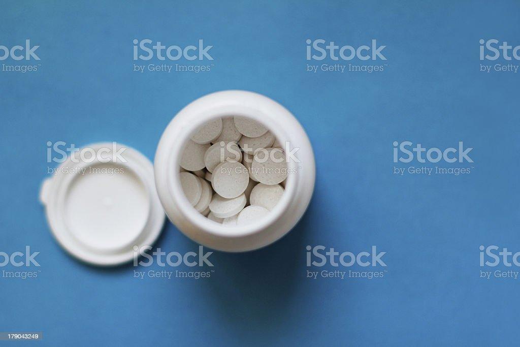 Eine Flasche Pillen top view – Foto