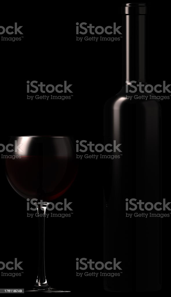 Bottle of port wine and glass.3D royalty-free stock photo