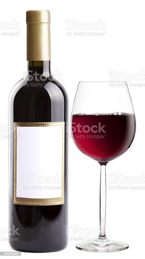 Bottle of red and wineglass royalty-free stock photo