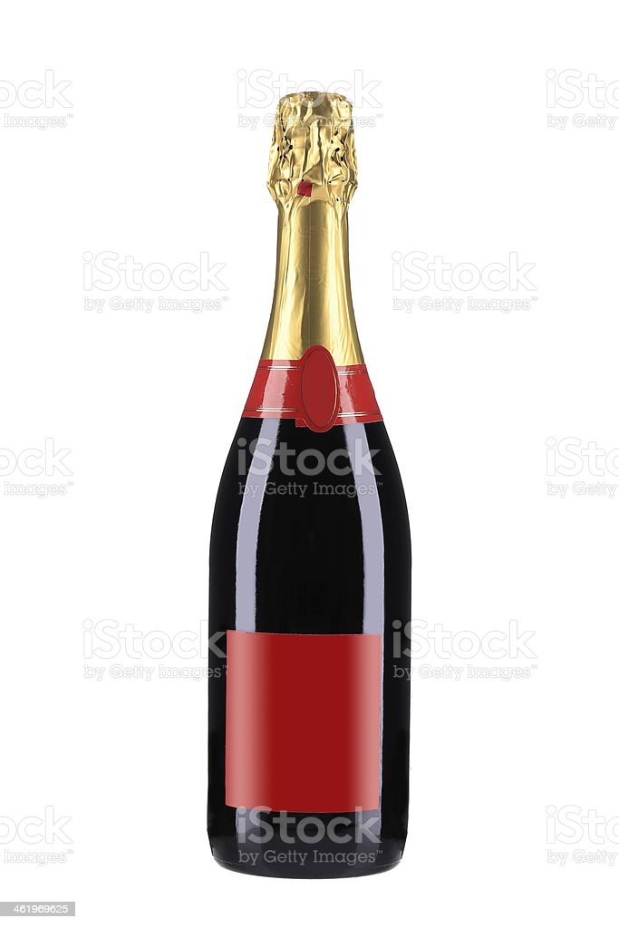 Bottle of red champagne. stock photo