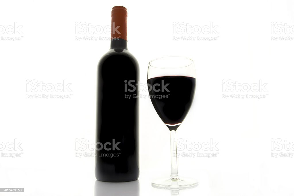 Bottle of red wine and a glass royalty-free stock photo