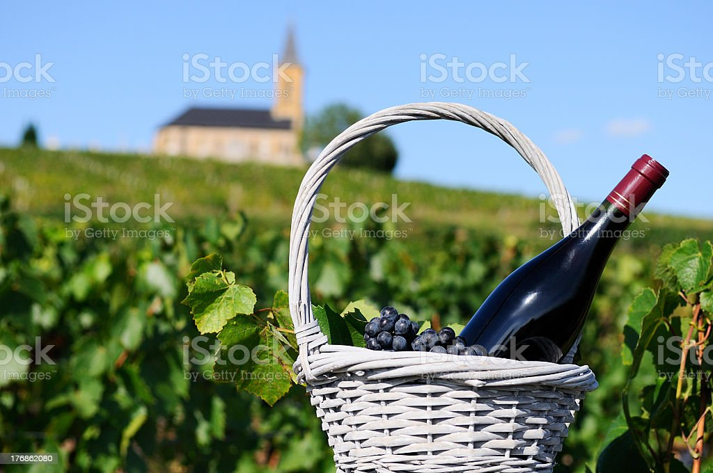 Bottle of red wine in a white basket in the countryside stock photo