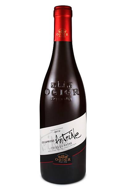 Bottle of red wine Ogier Cotes du Rhone stock photo