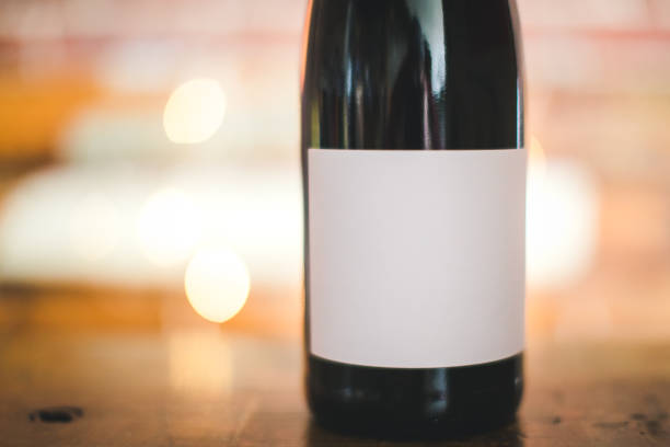 Bottle Of Red Wine With A White Blank Label stock photo
