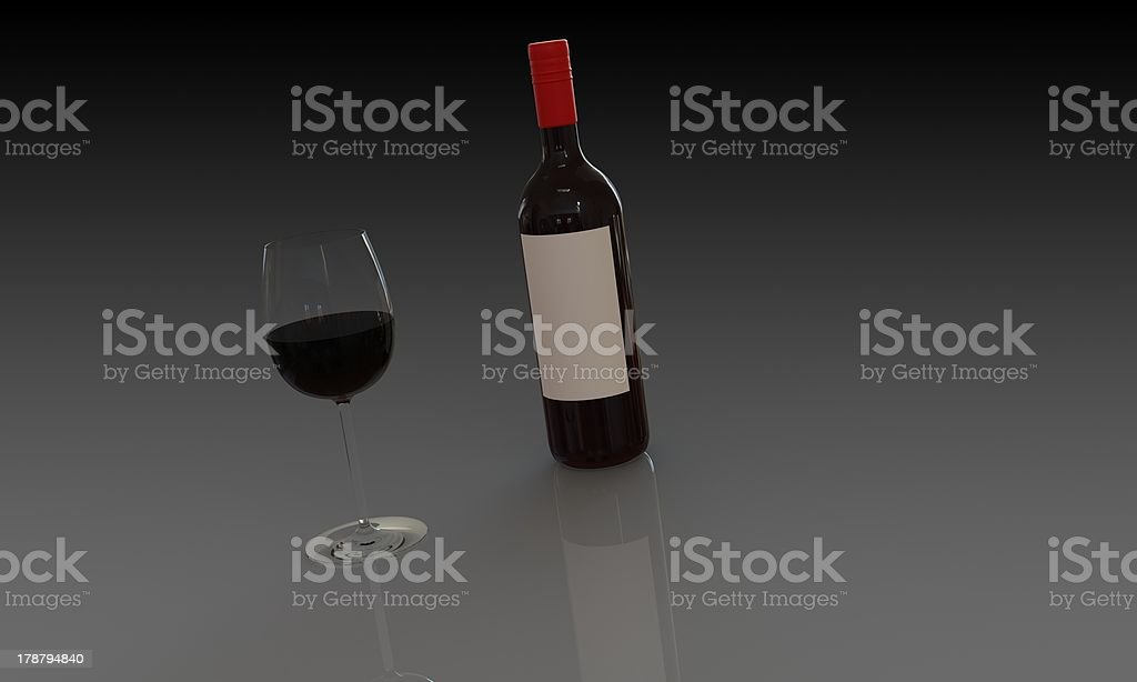Bottle of red wine with full glass isolated royalty-free stock photo