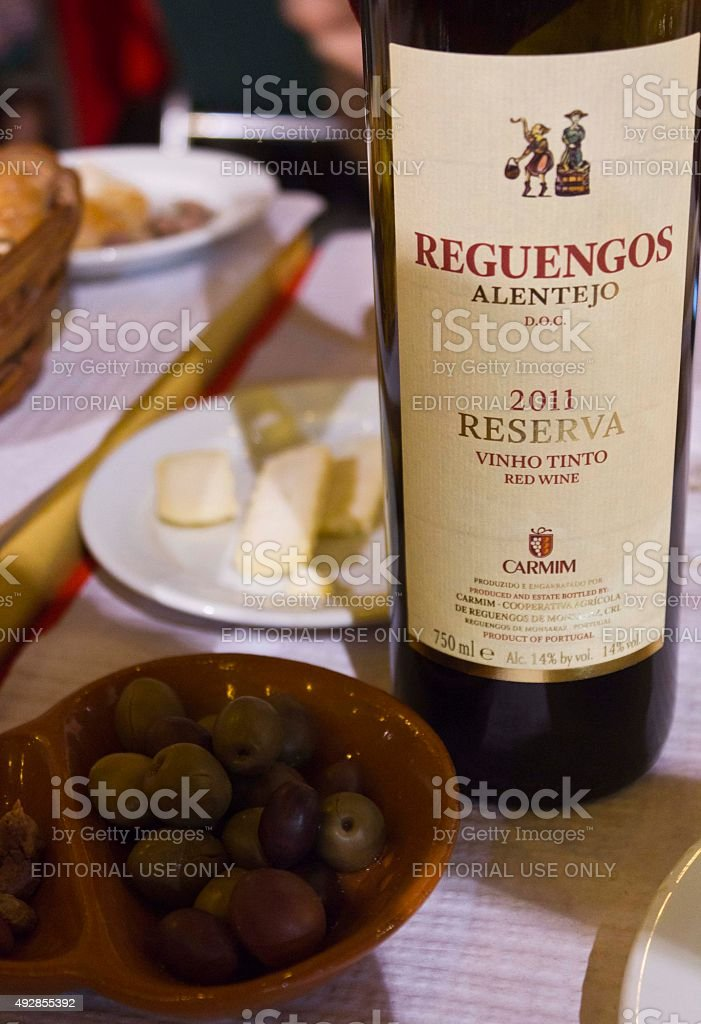 Bottle of Reguengos portuguese red wine stock photo