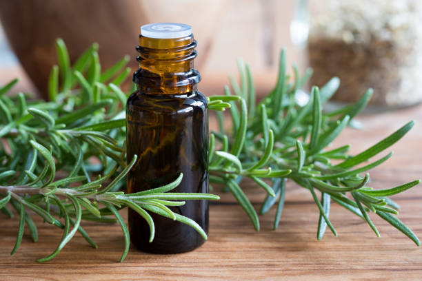 A bottle of rosemary essential oil stock photo