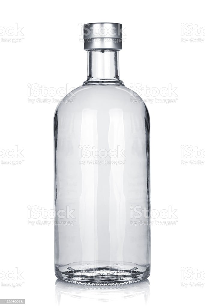 Bottle of russian vodka stock photo
