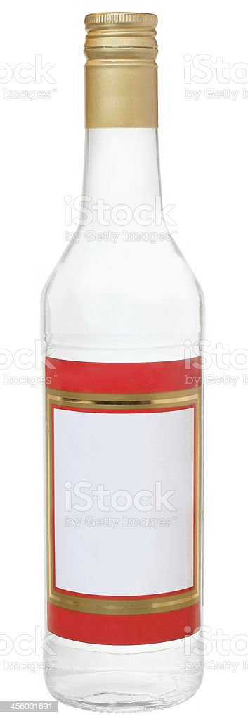 Bottle of russian vodka with blank label isolated stock photo