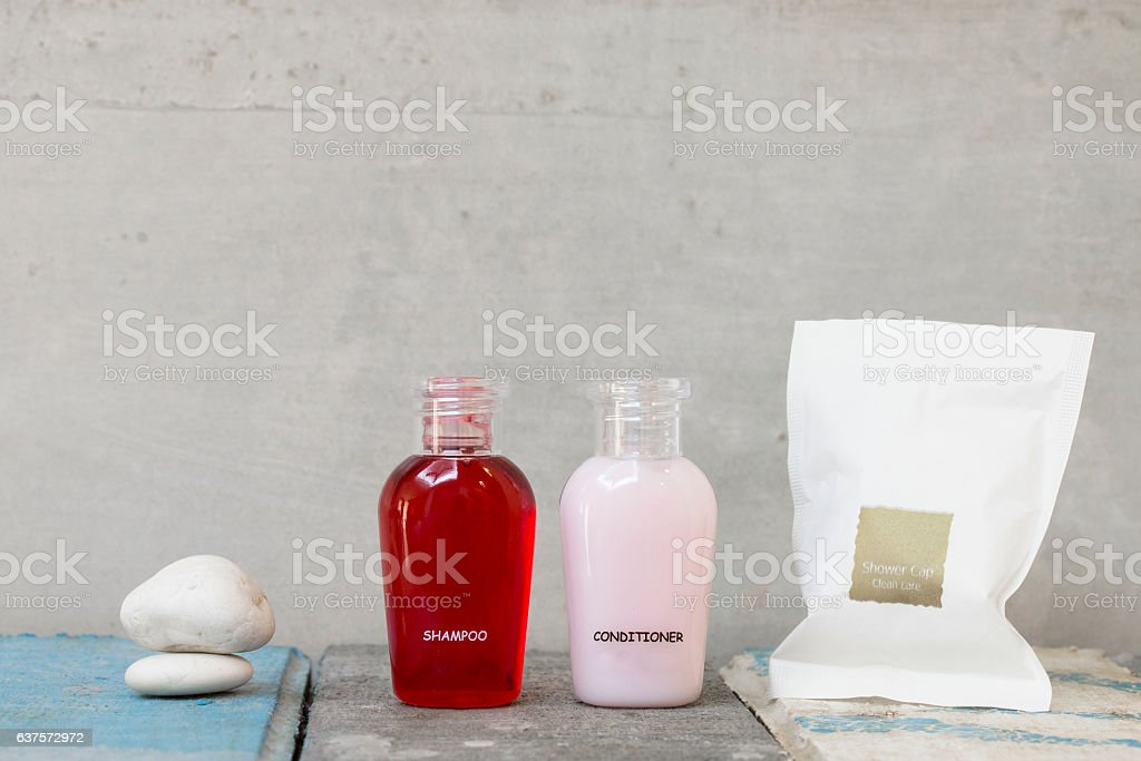bottle of shampoo, conditioner and cap shower. stock photo
