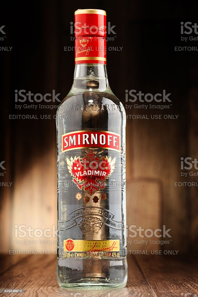 Bottle of Smirnoff Red Label vodka stock photo