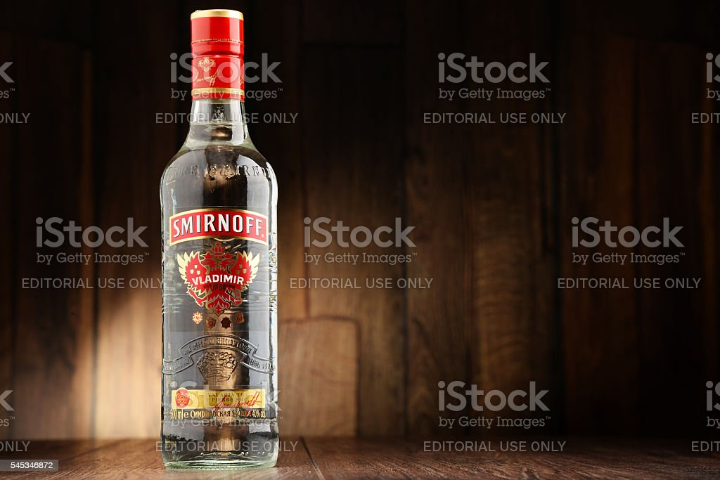Bottle of smirnoff red label vodka stock photo download image now istock - Picture of smirnoff vodka bottle ...