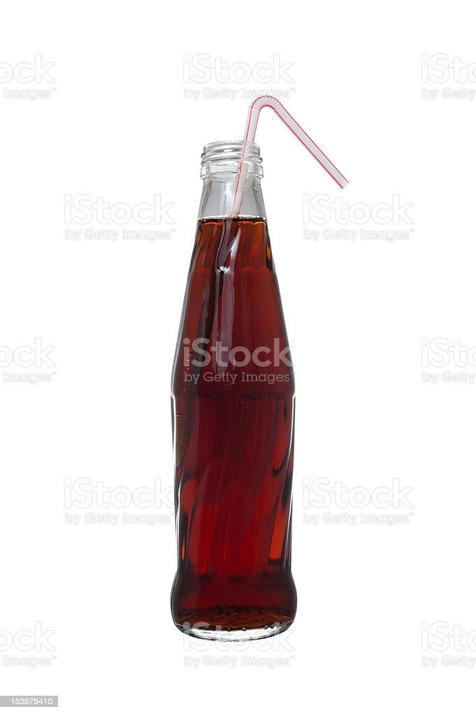 Botella de gaseosa con straw - foto de stock