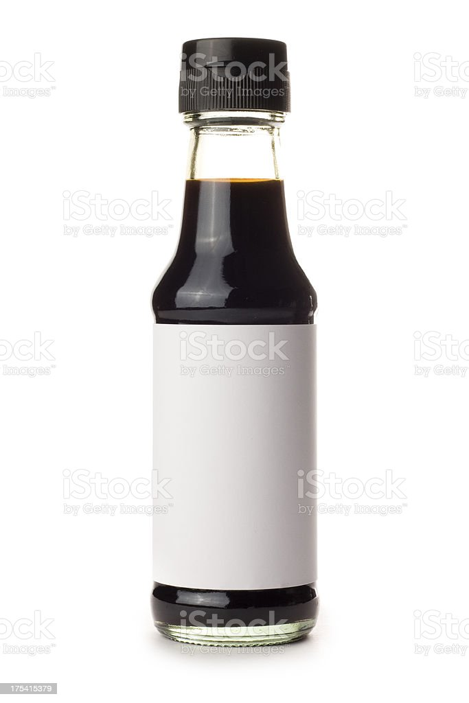 Bottle of Soy Sauce with blank label on white background stock photo