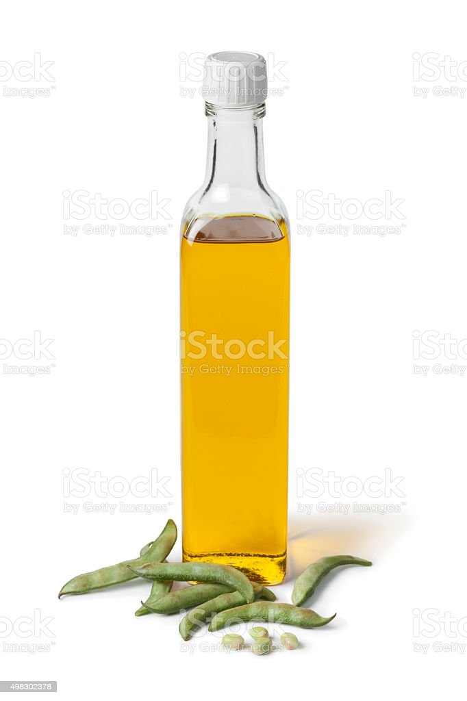 Bottle of soybean oil and fresh soy beans stock photo