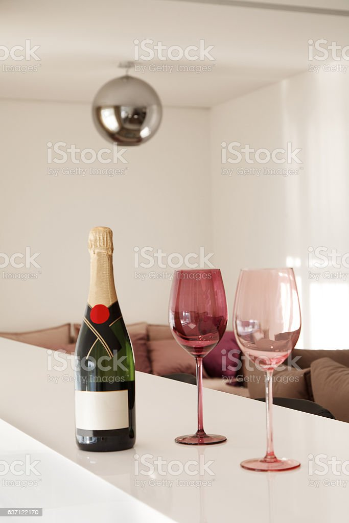 Bottle of Sparkling wine in the kitchen stock photo
