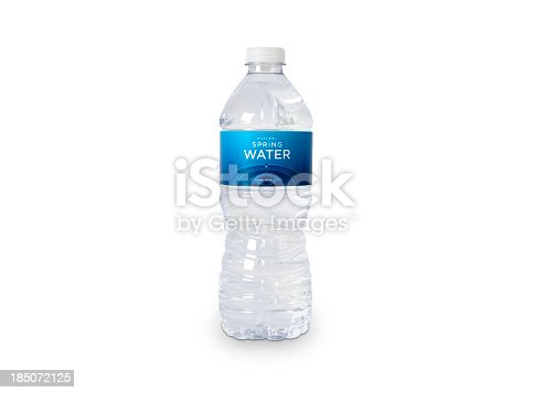 A bottle of natural spring water with generic (fictitious) labeling. Isolated on white. Contains CLIPPING PATHS for easy editing.