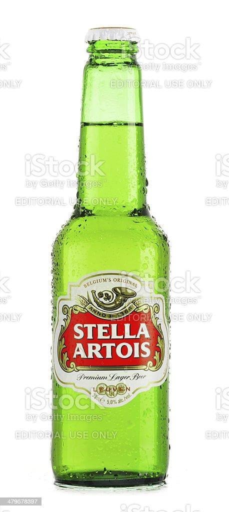 Bottle of Stella Artois beer isolated on white stock photo