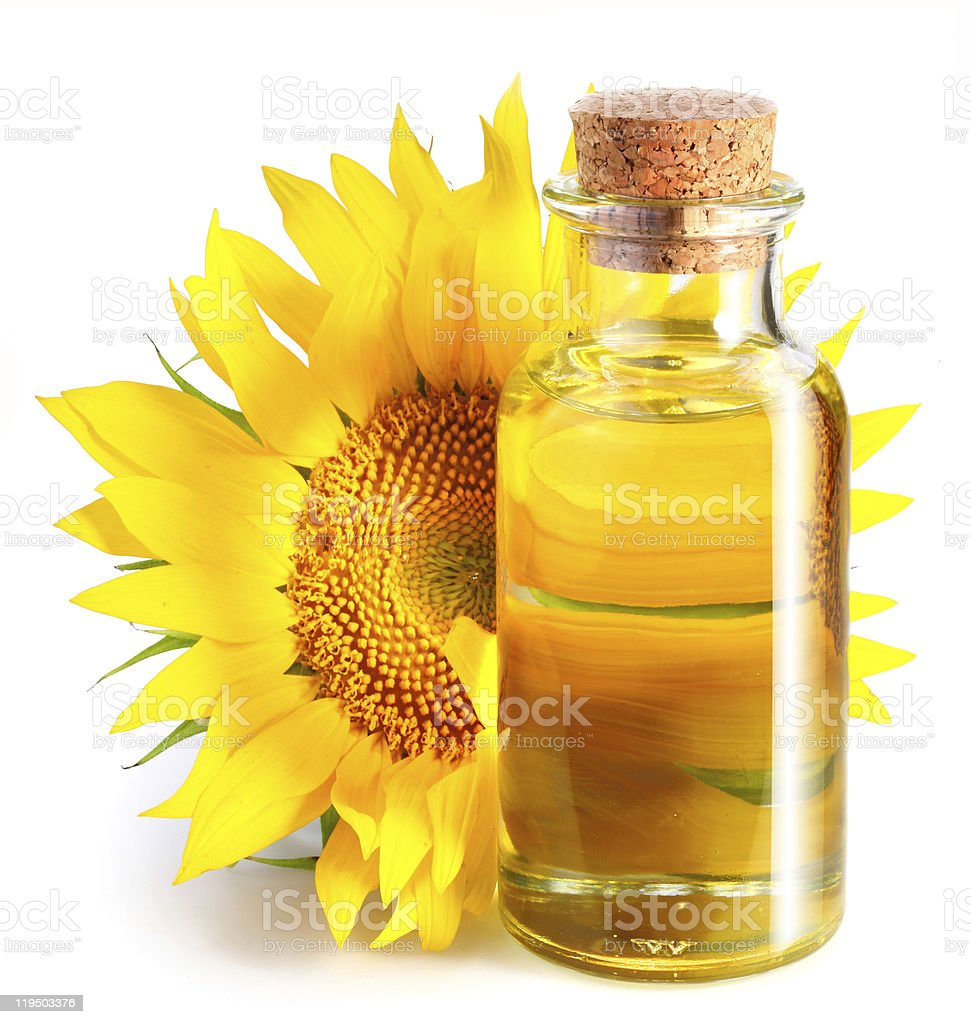 Bottle of sunflower oil with flower. royalty-free stock photo