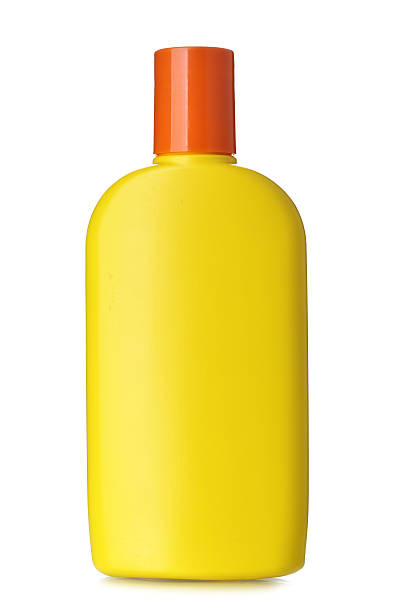 Bottle of sunscreen stock photo