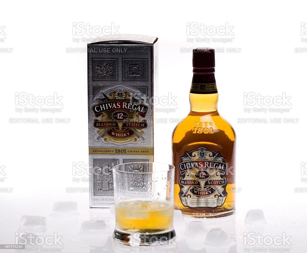 Bottle of twelve years old scotch whiskey Chivas Regal stock photo