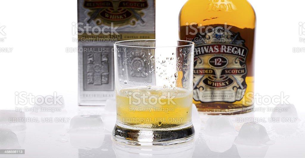 Bottle of twelve years old scotch whiskey Chivas Regal royalty-free stock photo