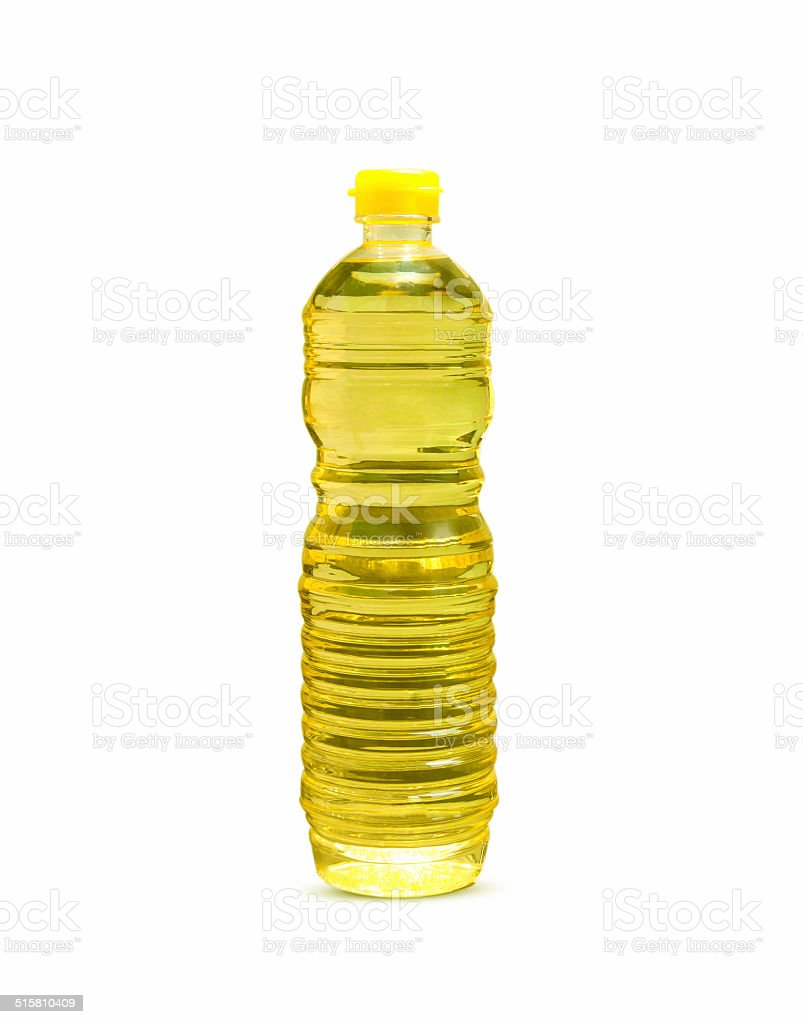 Bottle of vegetable oil stock photo