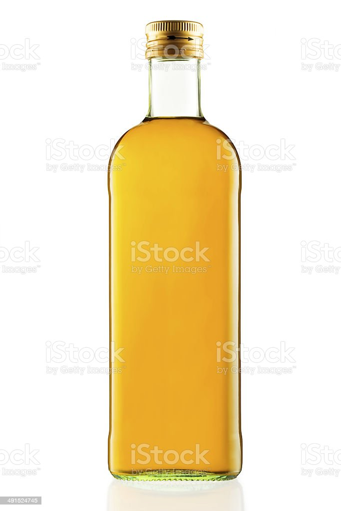 Bottle of virgin olive oil isolated on a white ground stock photo