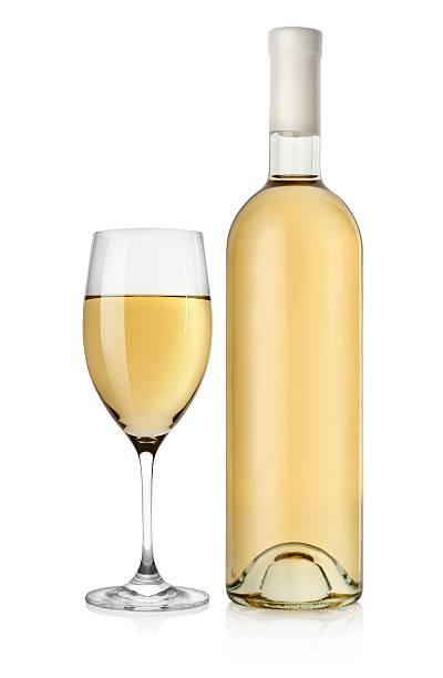 Flasche Weißwein und Glas – Foto