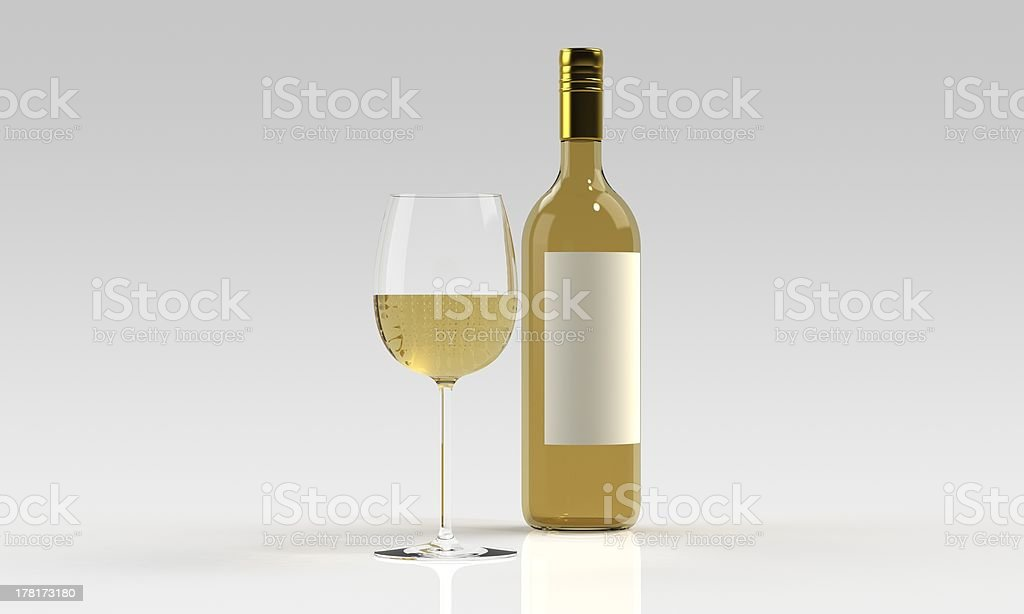 Bottle of white wine with full glass isolated royalty-free stock photo