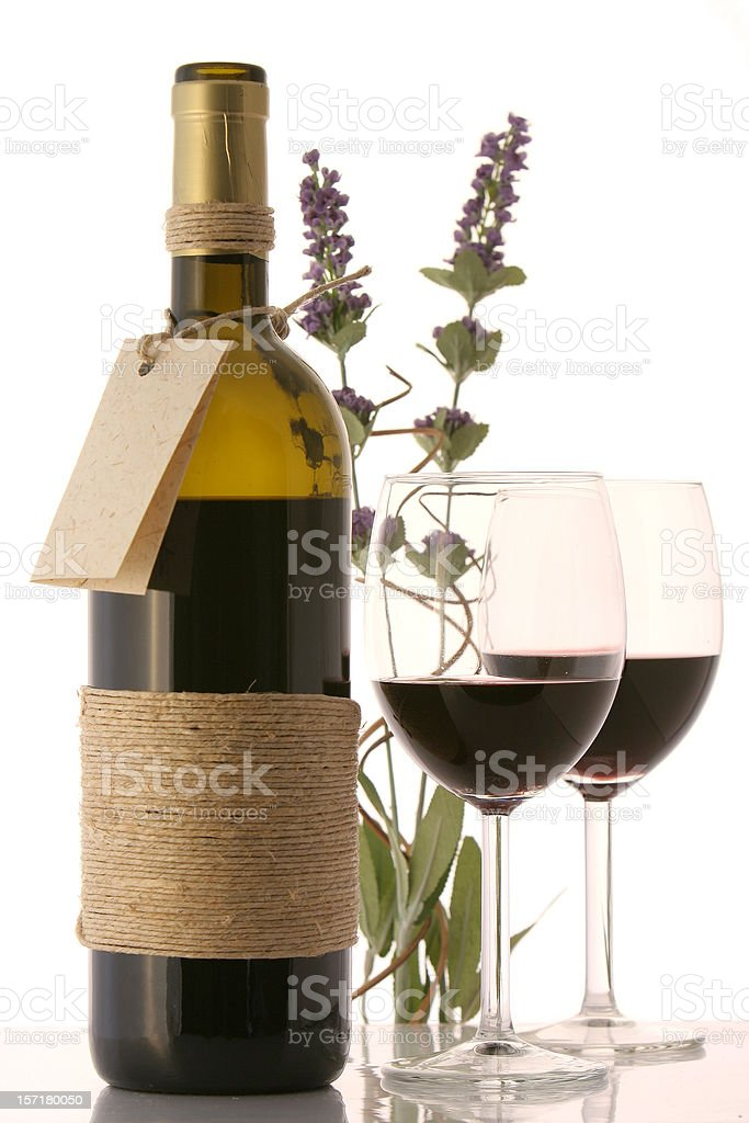 Bottle of wine and glasses royalty-free stock photo