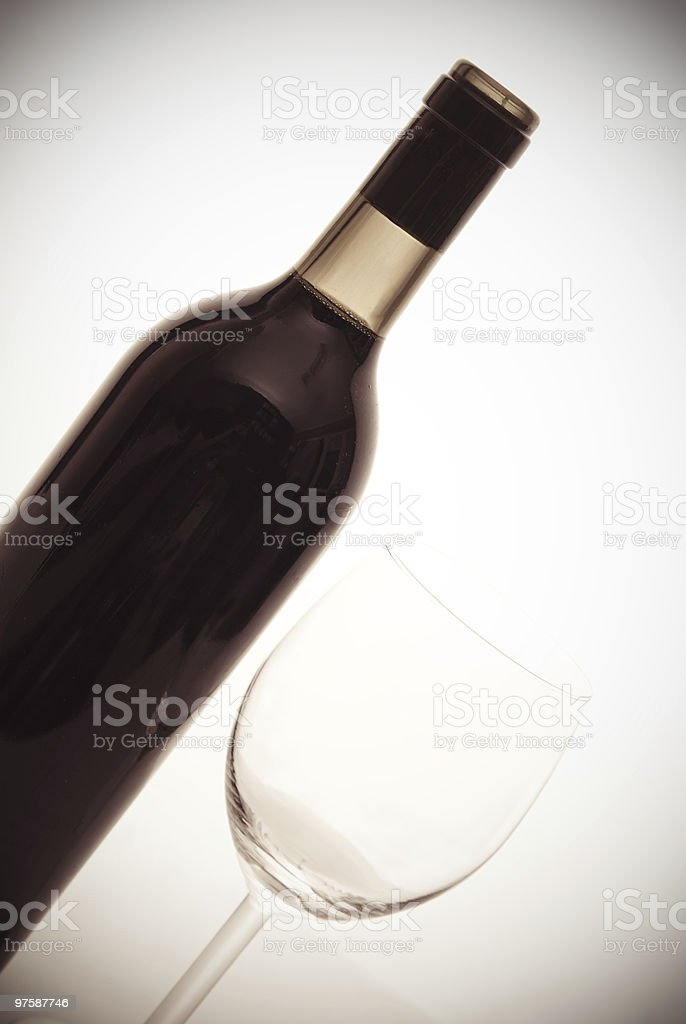 bottle of wine and wineglass royalty-free stock photo