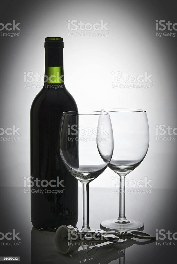 bottle of wine and wineglasses royalty-free stock photo