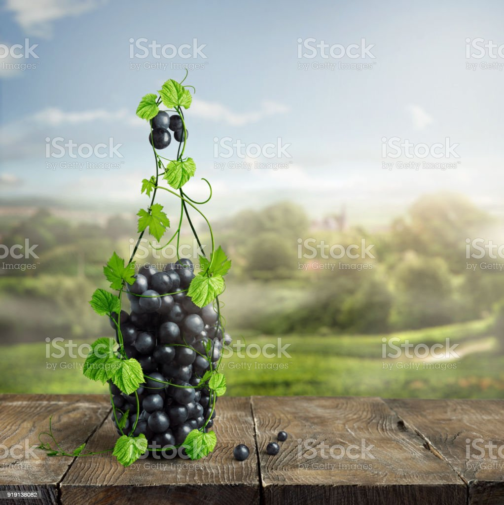 bottle of wine made from grapevine stock photo