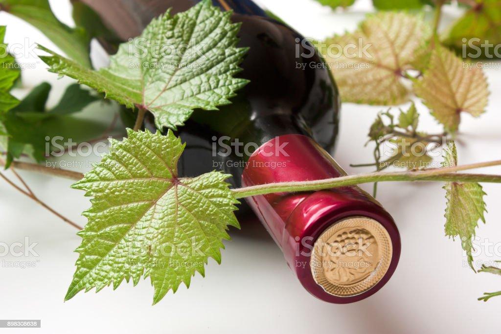 bottle of wine stock photo